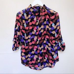 a.n.a Colorful Button Up Blouse